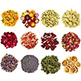 COYMOS Dried Herbs 100% Natural Dried Flowers for Candle Making, Resin Jewelry, Bath Bombs - Contains Hibiscus Flowers, Mint Leaves, Lavender Buds, Lemon Slices etc. (12 Botanical Varieties Total)