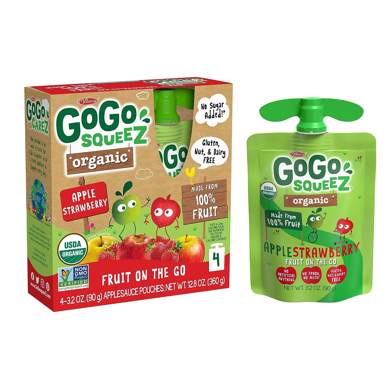 GoGo squeeZ Organic Fruit on the Go, Apple Strawberry, 3.2 oz. (4 Pouches) - Tasty Kids Applesauce Snacks Made from Organic Apples & Strawberries - Gluten Free Snacks - Nut & Dairy Free - Vegan Snacks