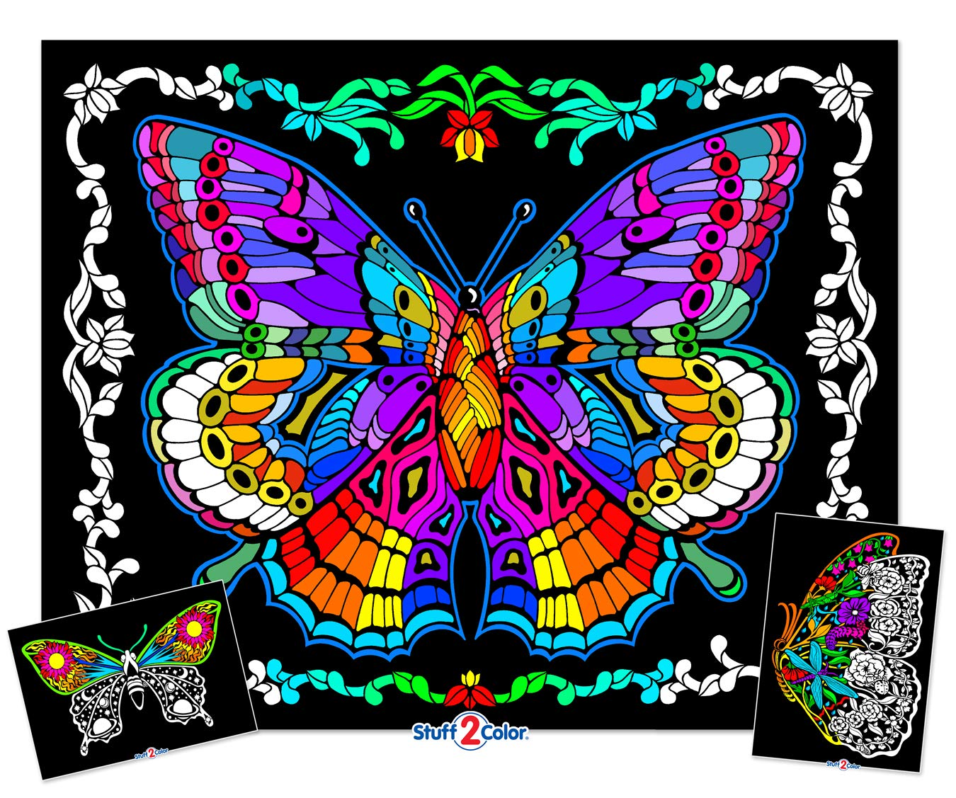Stuff2Color Geo Butterfly - 23x20 Fuzzy Velvet Coloring Poster
