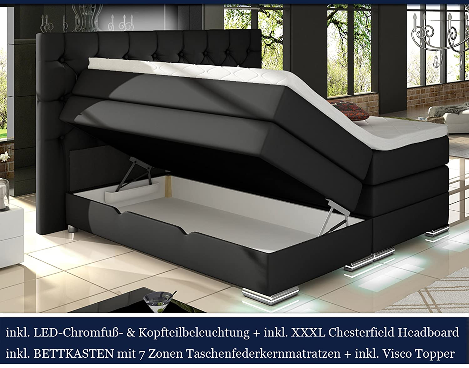 xxxl mailand boxspringbett mit bettkasten designer boxspring bett chesterfield led schwarz. Black Bedroom Furniture Sets. Home Design Ideas