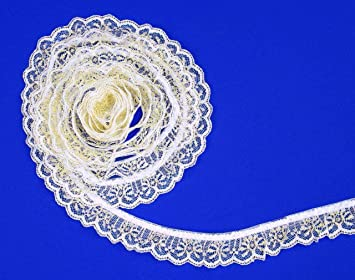 Ruffle Lace Trim 1 inch wide white//gold  color selling by the yard