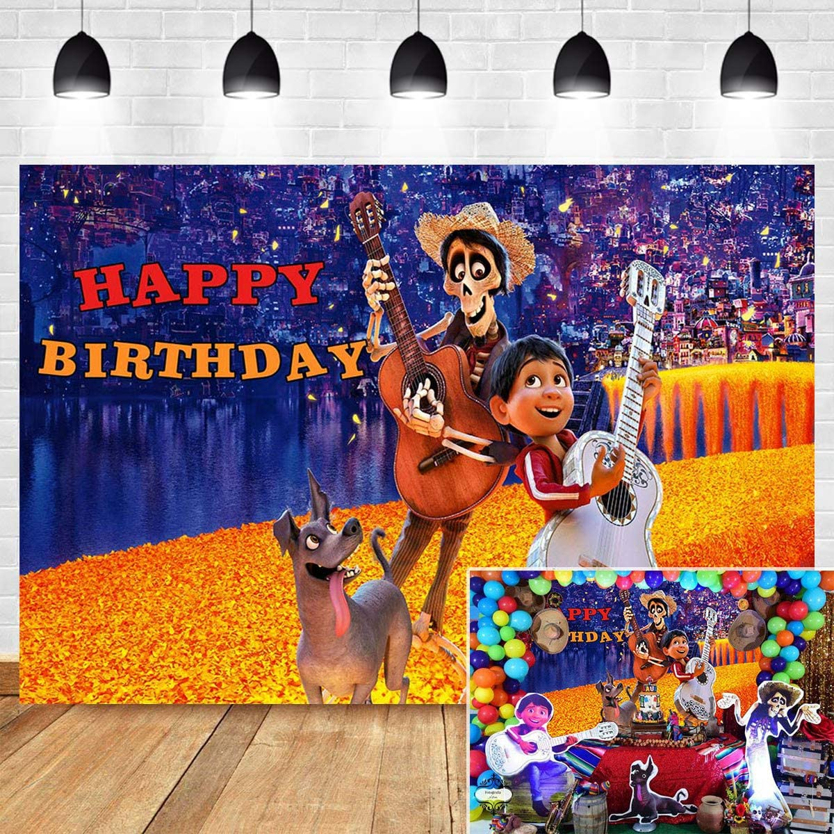 Cartoon Skull and Boy Photography Backdrop Blue Gold Bokeh Children Happy Birthday Party Decorations Vinyl 7x5ft Halloween Day of The Dead Baby Shower Coco Background Photo Booth Studio Props