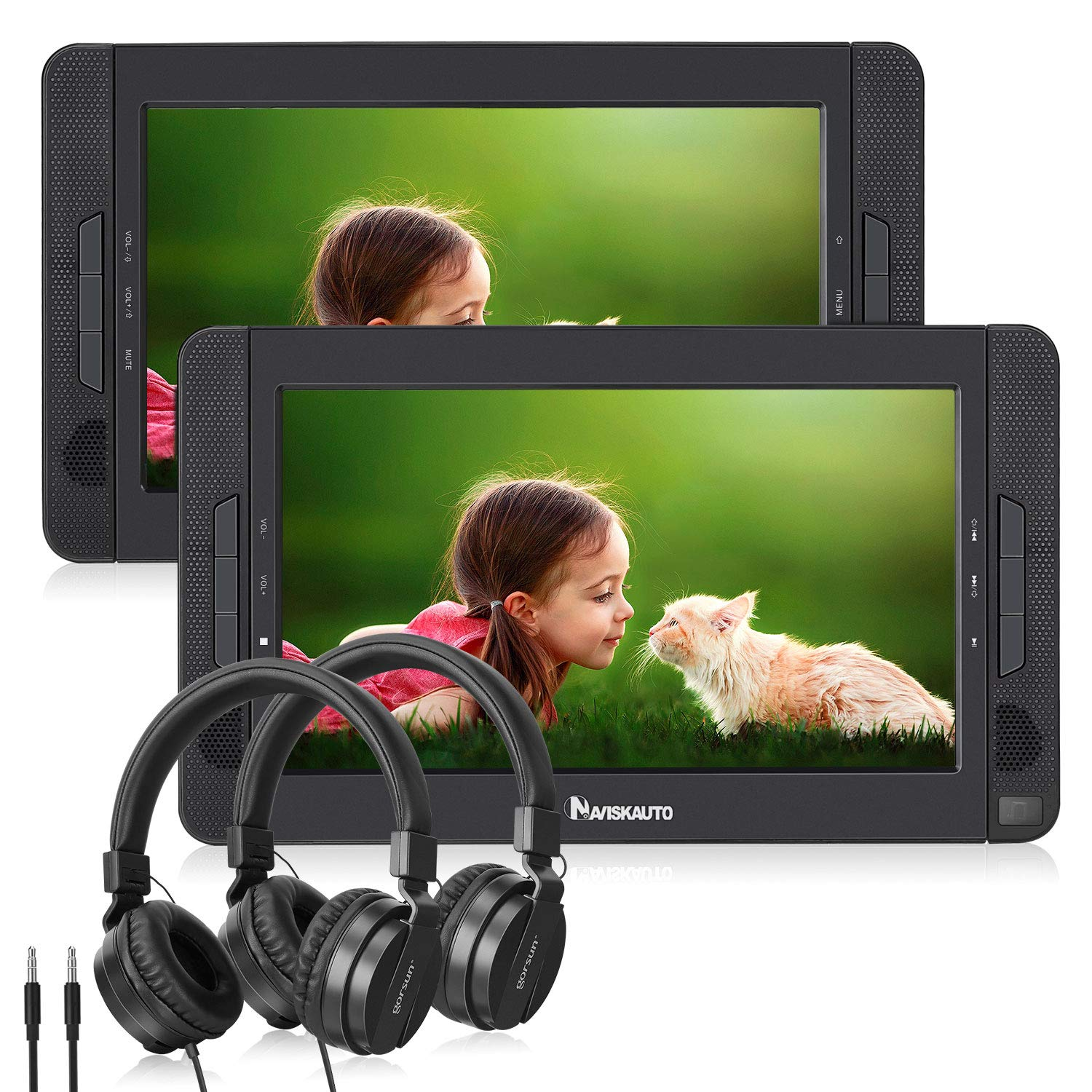 NAVISKAUTO 10.1'' Dual Screen Portable DVD Player for Car, Headrest Video Player with 5-Hour Rechargeable Battery, Last Memory Function and Two Headphones