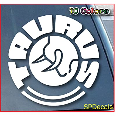 "Taurus Firearms Car Window Vinyl Decal Sticker 4"" Wide (Color: White): Automotive"