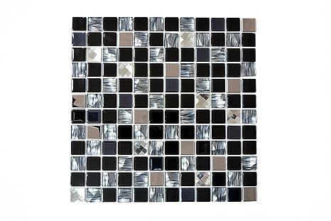 Piastrelle mosaico tessere di mosaico in vetro nero alluminio