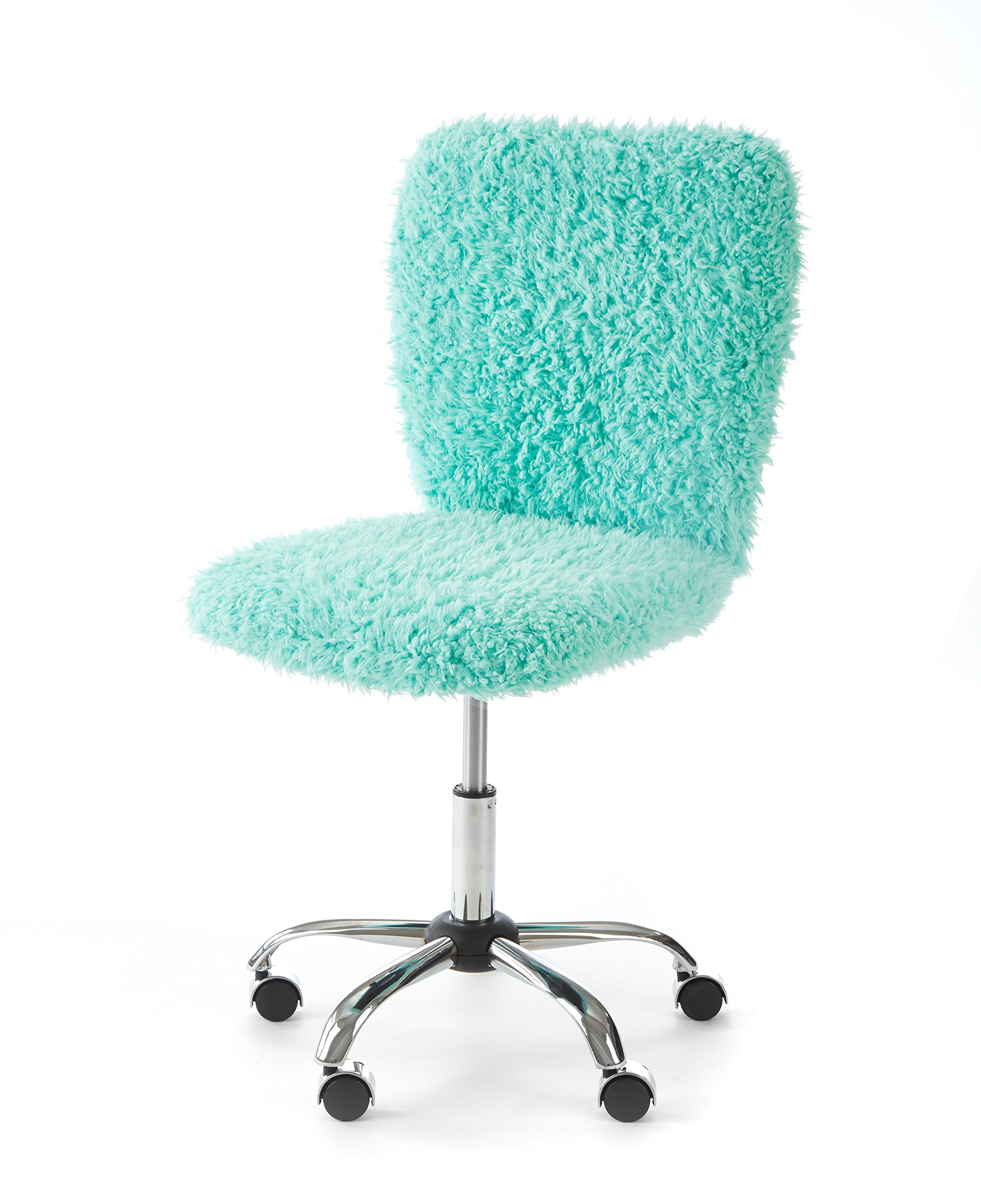 Urban Shop WK657594 Faux Fur Rolling Task Chair, Mint