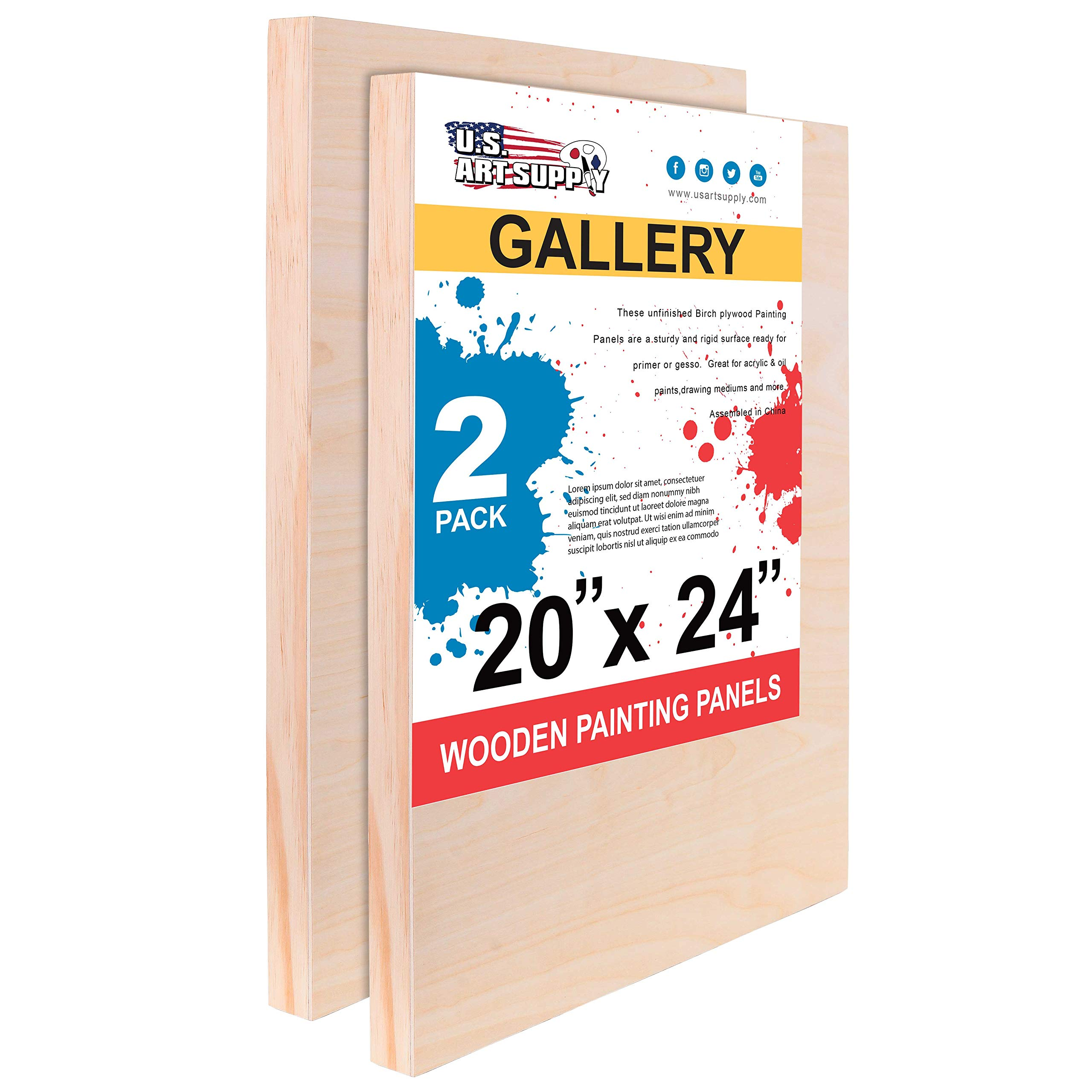 U.S. Art Supply 20'' x 24'' Birch Wood Paint Pouring Panel Boards, Gallery 1-1/2'' Deep Cradle (Pack of 2) - Artist Depth Wooden Wall Canvases - Painting Mixed-Media Craft, Acrylic, Oil, Encaustic by U.S. Art Supply