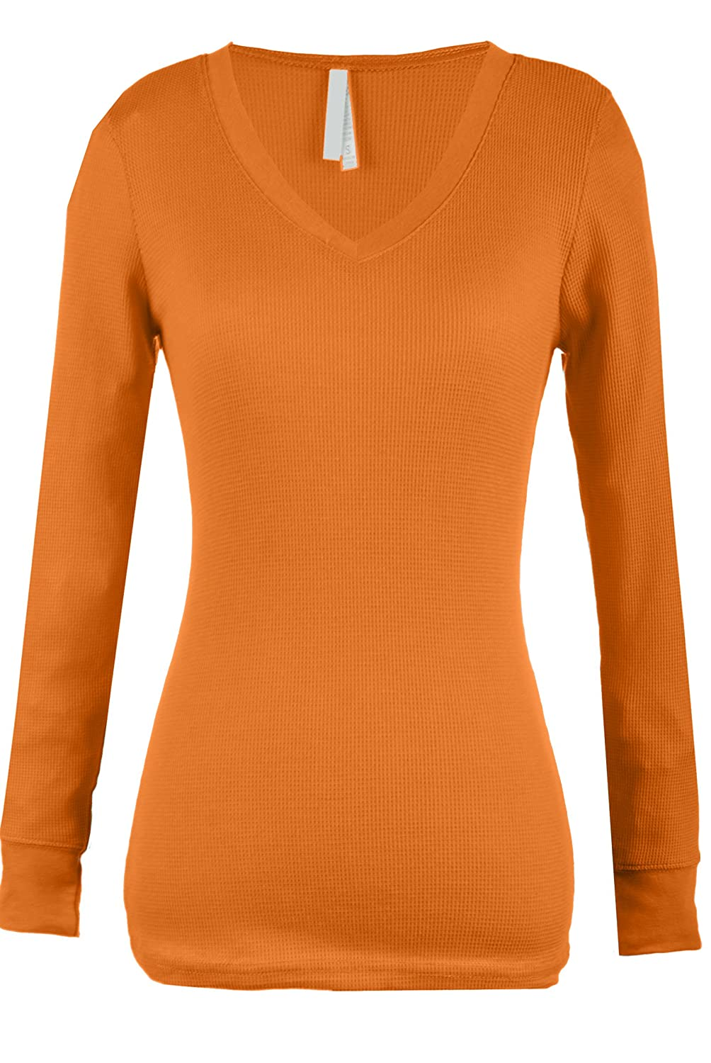 Top Legging TL Womens Variety Comfy Solid V-Neck Long Sleeve Thermal Basic Tops