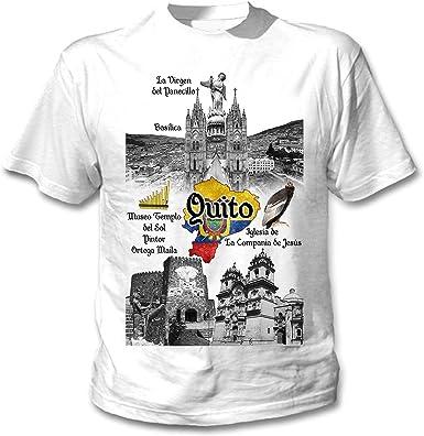 teesquare1st Ecuador Quito Camiseta Blanca para Hombre de Algodon: Amazon.es: Ropa y accesorios