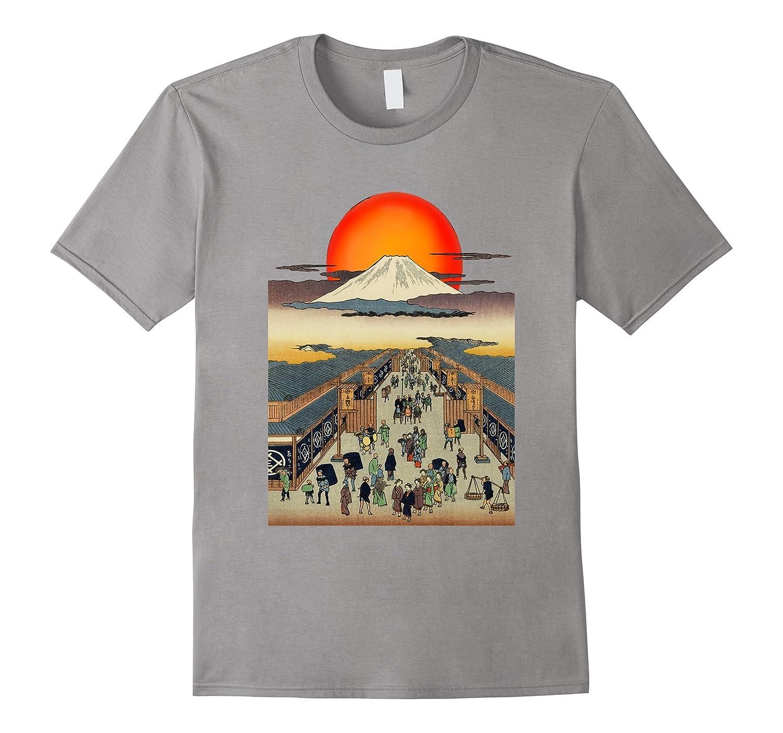 Edo Japan Ukiyo City Scene and Rising Sun Mount Fuji T-Shirt-FL