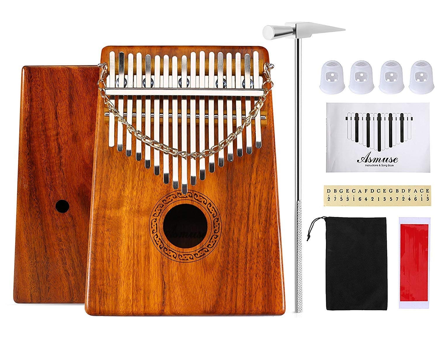 Kalimba Thumb Piano 17 keys Solid Wood Afican Mbria Instrument Finger Piano Kit with Carry Bag &Music Book &Musical Scale Stickers&Tuning Hammer by Wellsky