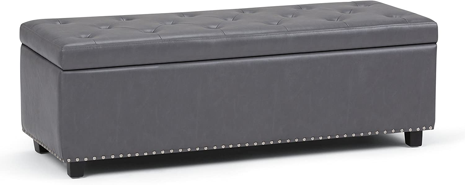 SIMPLIHOME Hamilton 48 inch Wide Rectangle Lift Top Storage Ottoman in Upholstered Stone Grey Tufted Faux Leather with Large Storage Space for the Living Room, Entryway, Bedroom, Traditional