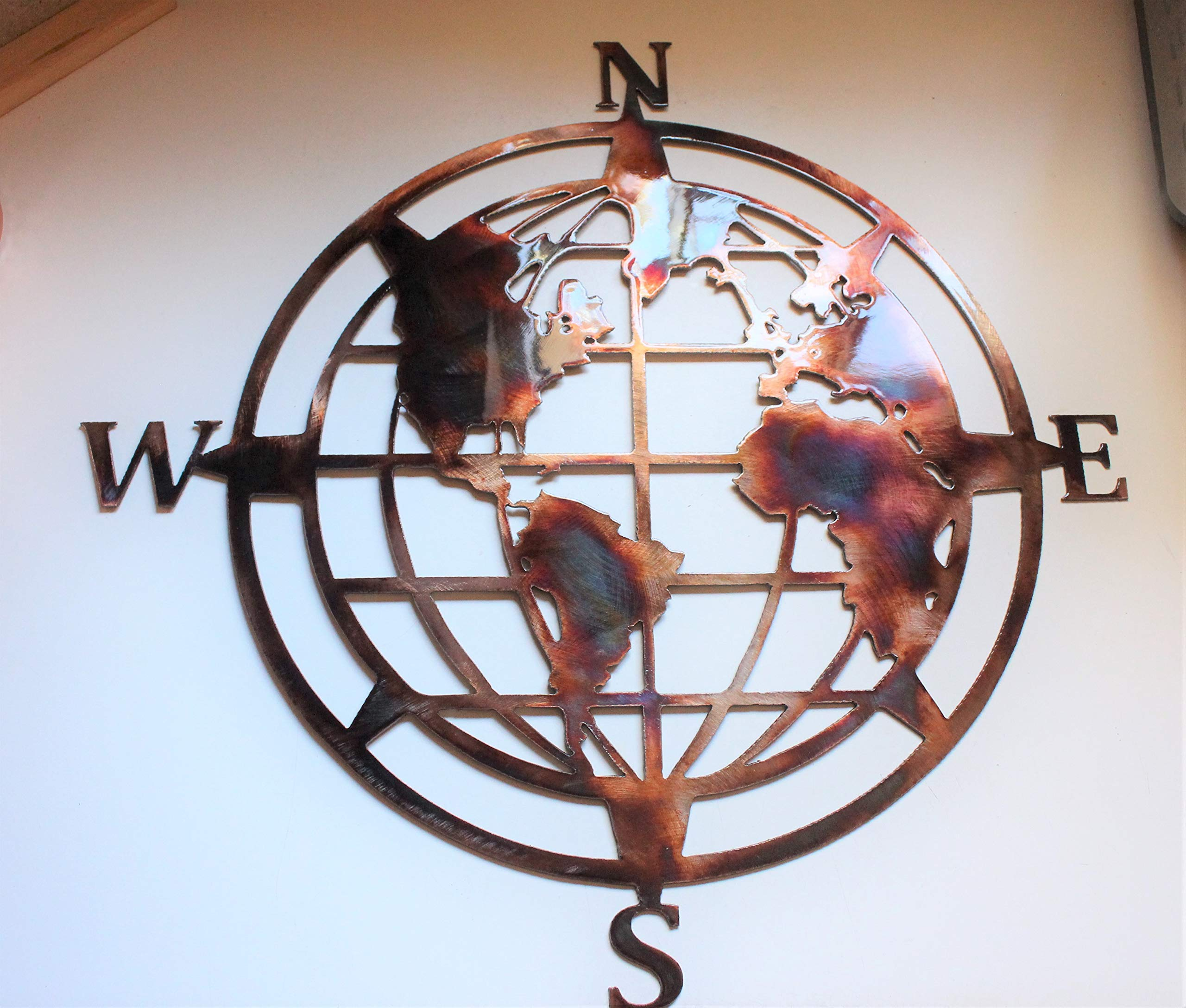 Nautical Compass Wall Art with Globe 20''