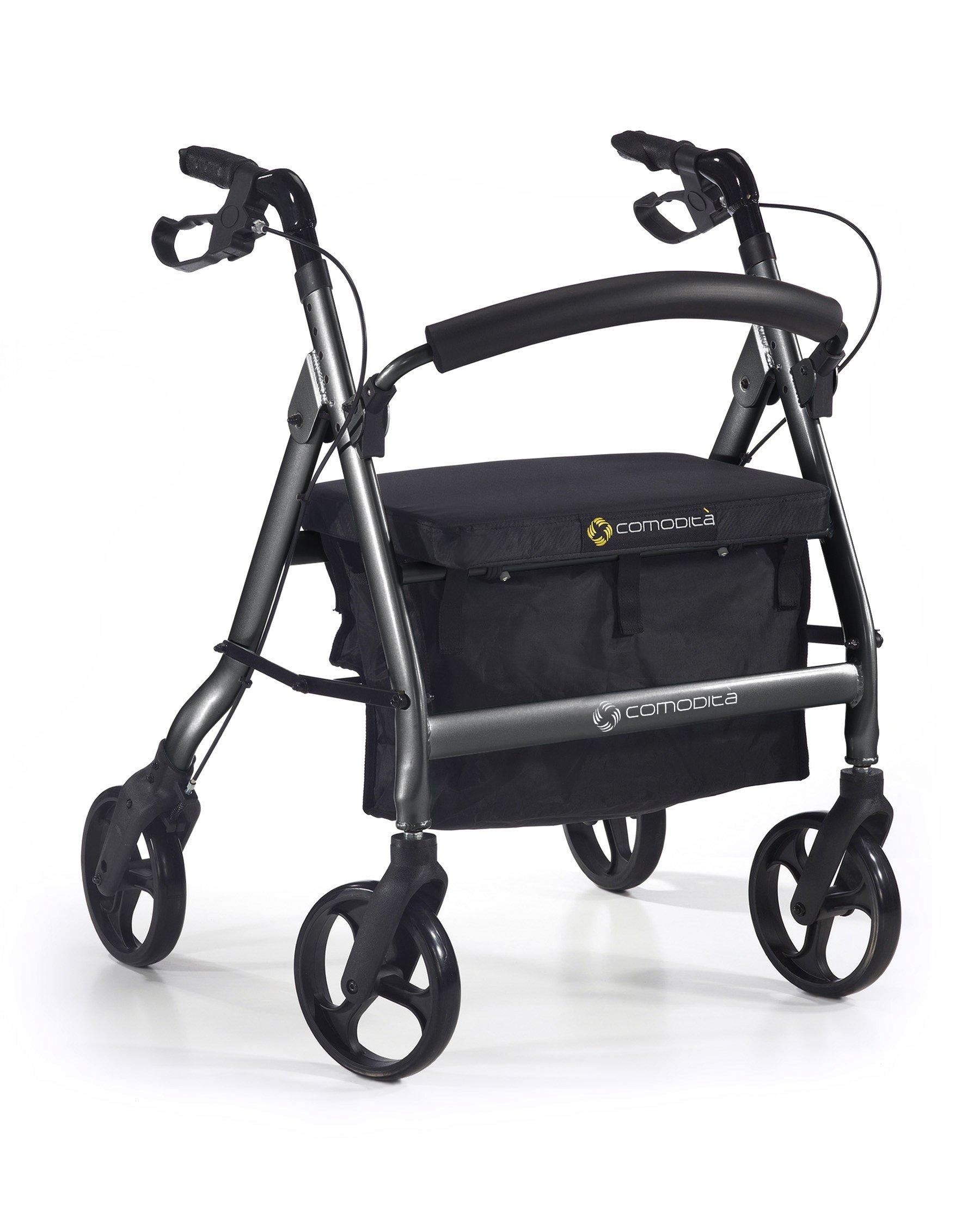 Comodità Spazio Extra Wide Heavy-Duty Rolling Walker - Rollator - with Comfortable 18'' Wide Seat (Metallic Graphite)