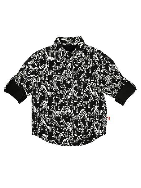 3f4980f139c7 Nino Bambino 100% Pure Organic Cotton Regular Collar Button Down Closure  Full Sleeve Zebra Printed Black Shirt for Baby Boys with Front Pocket:  Amazon.in: ...
