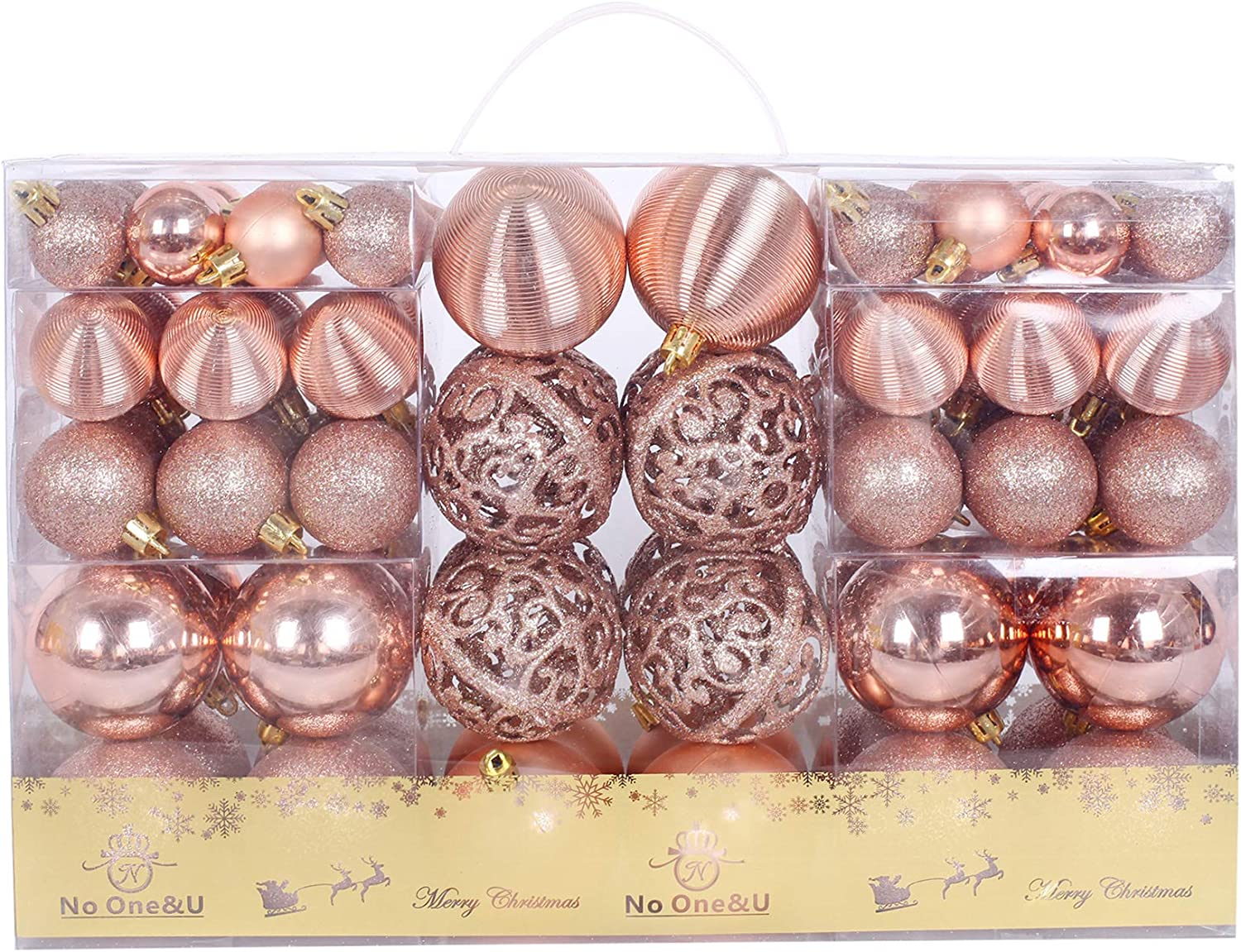 No One&U Christmas Balls Ornaments 100pcs Shatterproof for Decorating Christmas Tree,Christmas Tree Hanging Balls with Reusable Hand-held Gift Package for Holiday Xmas Tree Decorations. (Rose Gold)