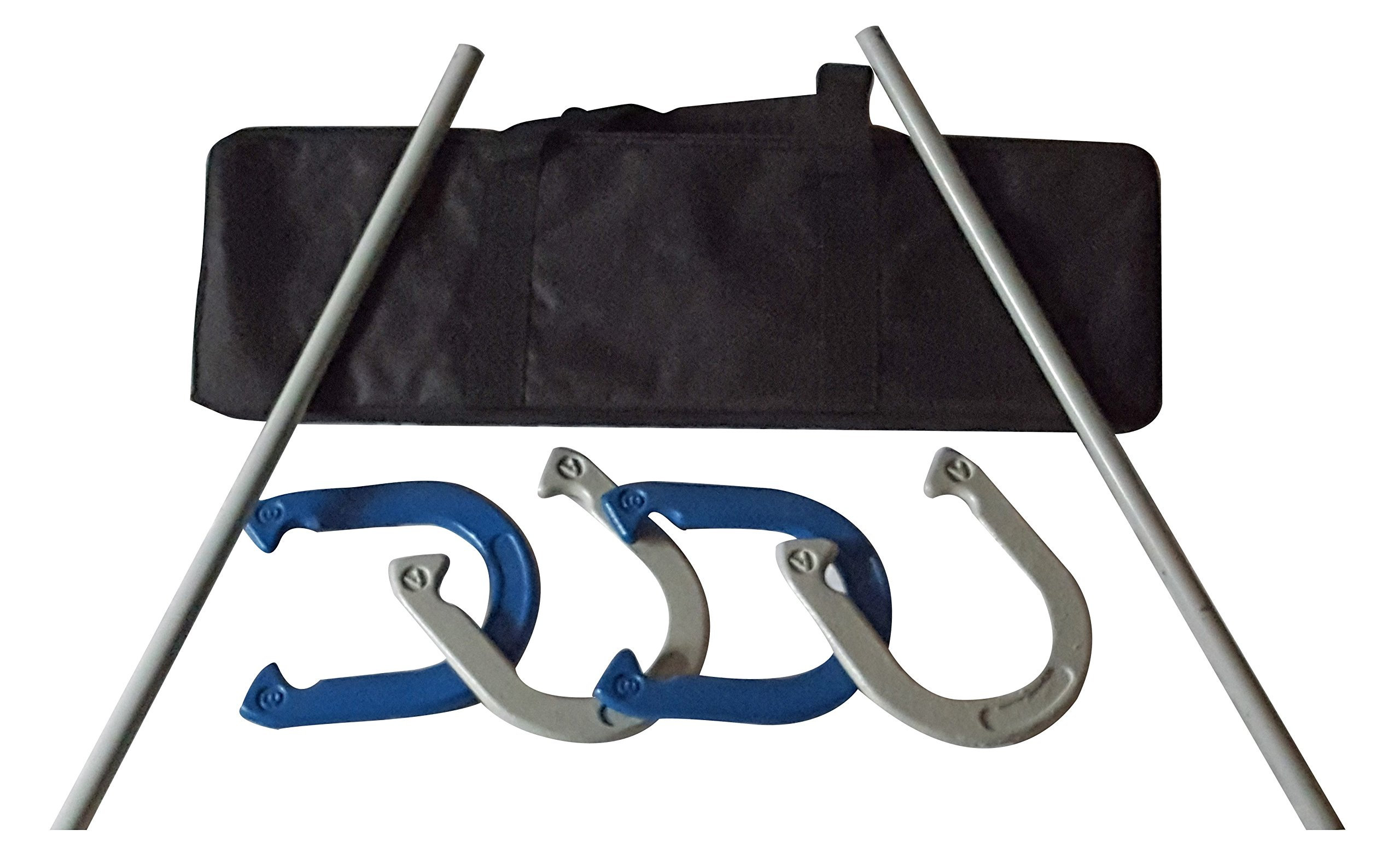 Driveway Games Metal Horseshoe Set. Professional Steel Throwing Horseshoes, Stakes & Carrying Case. Outdoor Pitching Toss Game