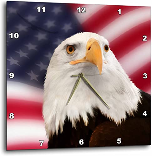 3dRose DPP_62902_3 Patriotic American Flag and Bald Eagle Wall Clock, 15 by 15-Inch