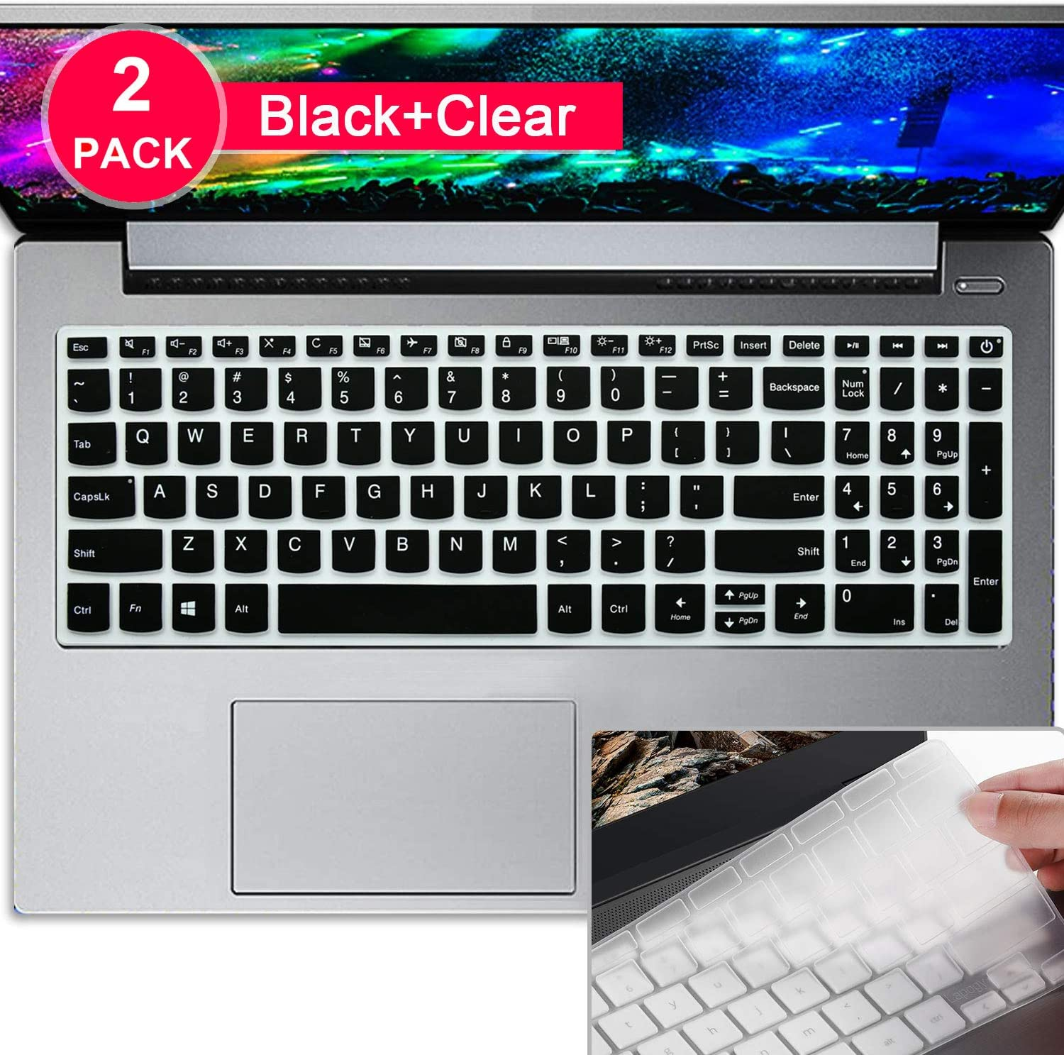 "Lapogy[2Pack]Thin Keyboard Cover Skin For Lenovo IdeaPad 15.6""320 330 330S 340S 520 720S 130 S145 L340 S340/2019 2018 New Lenovo IdeaPad 15.6""/17.3"" IdeaPad 320 330/15.6""Lenovo V330 V130,Black+Clear"