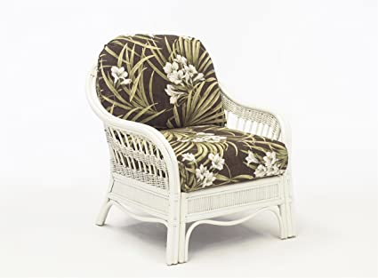 South Sea Rattan Bermuda Chair In WhiteWash Finish, Ariel Sunset