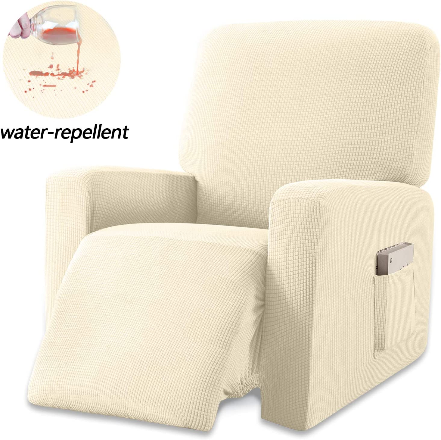 Granbest Premium Water Repellent Recliner Chair Cover High Stretch Jacquard Fabric Recliner Slipcover with Pockets (Recliner, Beige)