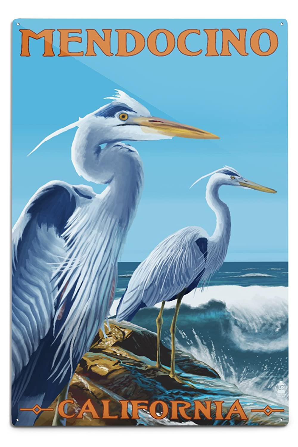 最高級 Mendocino、カリフォルニア – x Blue x Metal Herons ( West Coast ) 12 x 18 Metal Sign LANT-72544-12x18M B06Y1JCSMC 12 x 18 Metal Sign, カミタカイグン:cffa988d --- 4x4.lt
