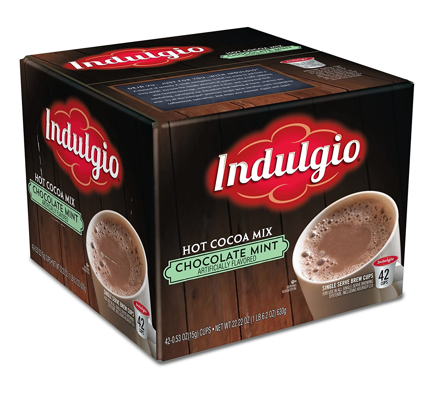 Indulgio Chocolate Mint Hot Cocoa Single Serve K-cup, 42 Count (Compatible with 2.0 Keurig Brewers)