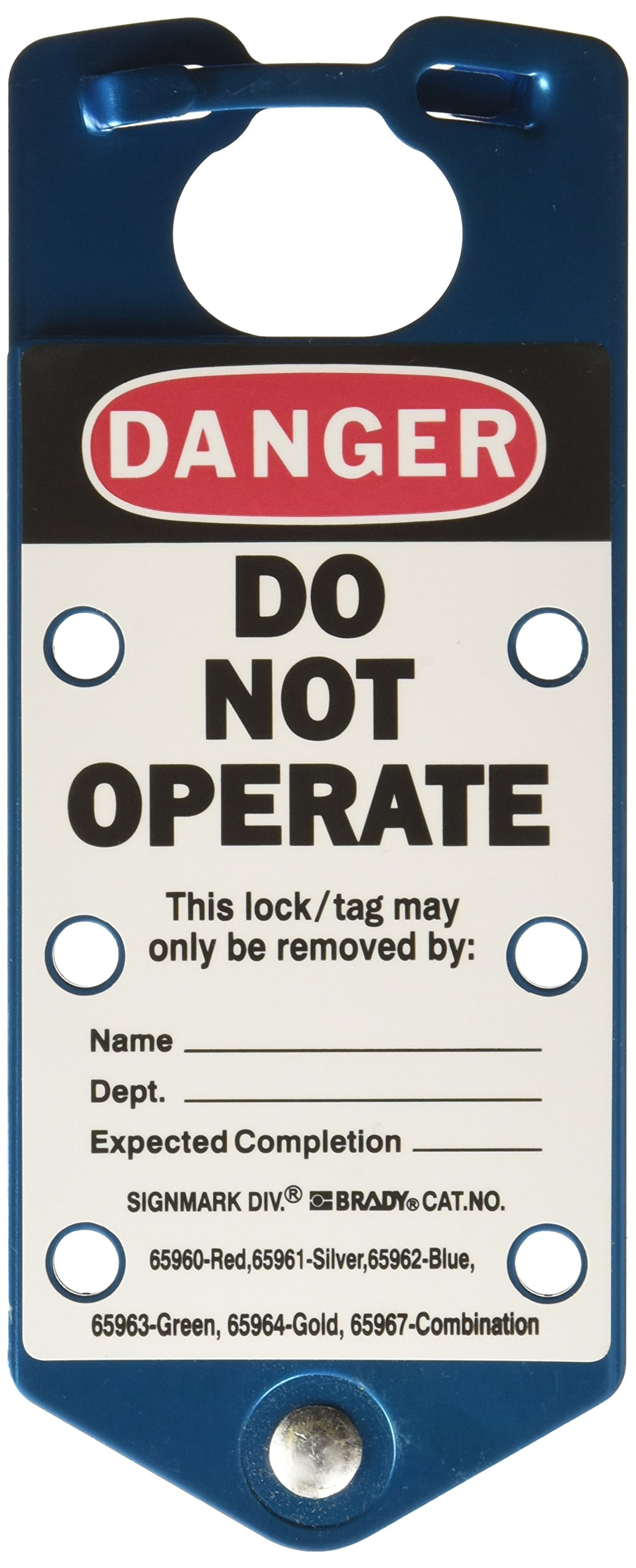 Brady 65962, Labeled Lockout Hasps,'' Height x'' Width, Blue, Legend''Danger Do Not Operate.Etc'' (5 per Package)
