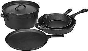 AmazonBasics Pre-Seasoned Cast Iron 5-Piece Cookware Set