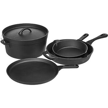 AmazonBasics Pre-Seasoned Cast Iron 5-Piece Kitchen Cookware Set, Pots and Pans