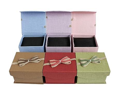 Geschenkbox f/ür Jubil/äen Hochzeiten Geburtstage Gr/ö/ße- 9 cm x 8 cm x 6.5 cm Mit Dekorativem Schleife Emartbuy Set von 12 Gemischte Farben Strukturiert Karton Schmuck Ring Schachtel