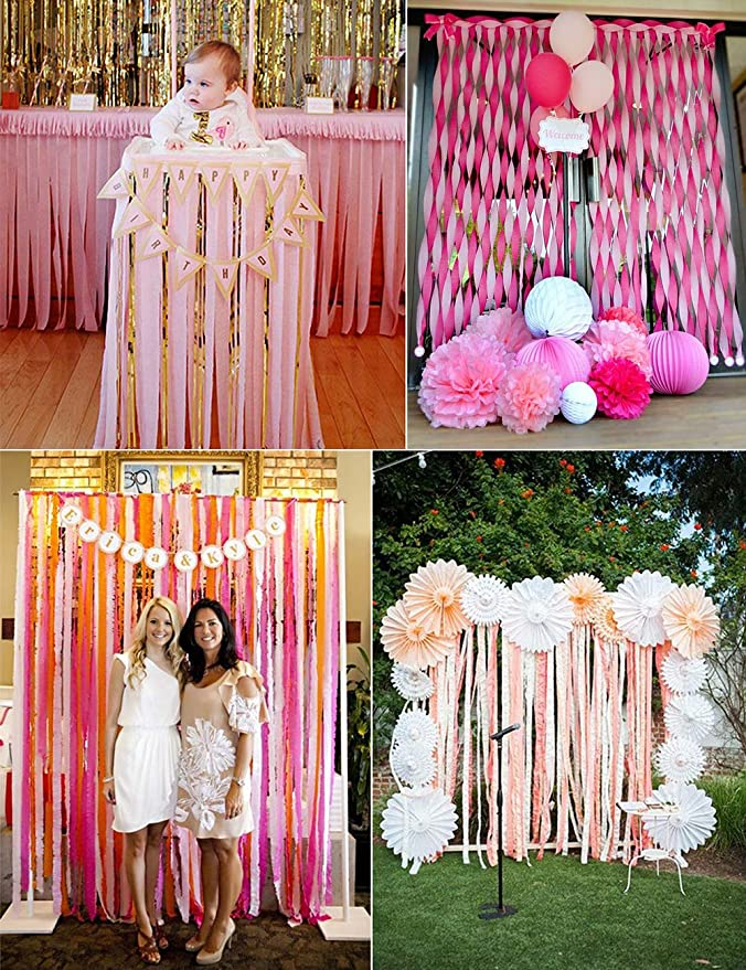 Class Party Thanksgiving, 3 Packs Family Gathering Tassels Streamer Paper for Birthday Party Paper Streamer Orange Bining Streamers Paper 216ft Long 1.77in Wide Orange kits Crepe Paper Streamers