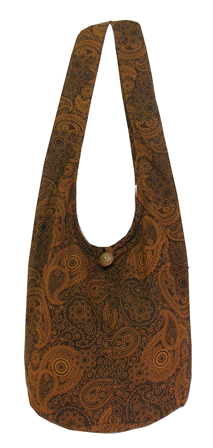 Hippie paisely Printed Standing Coral Crossbody Shoulder Boho Messenger Bag Tote Small