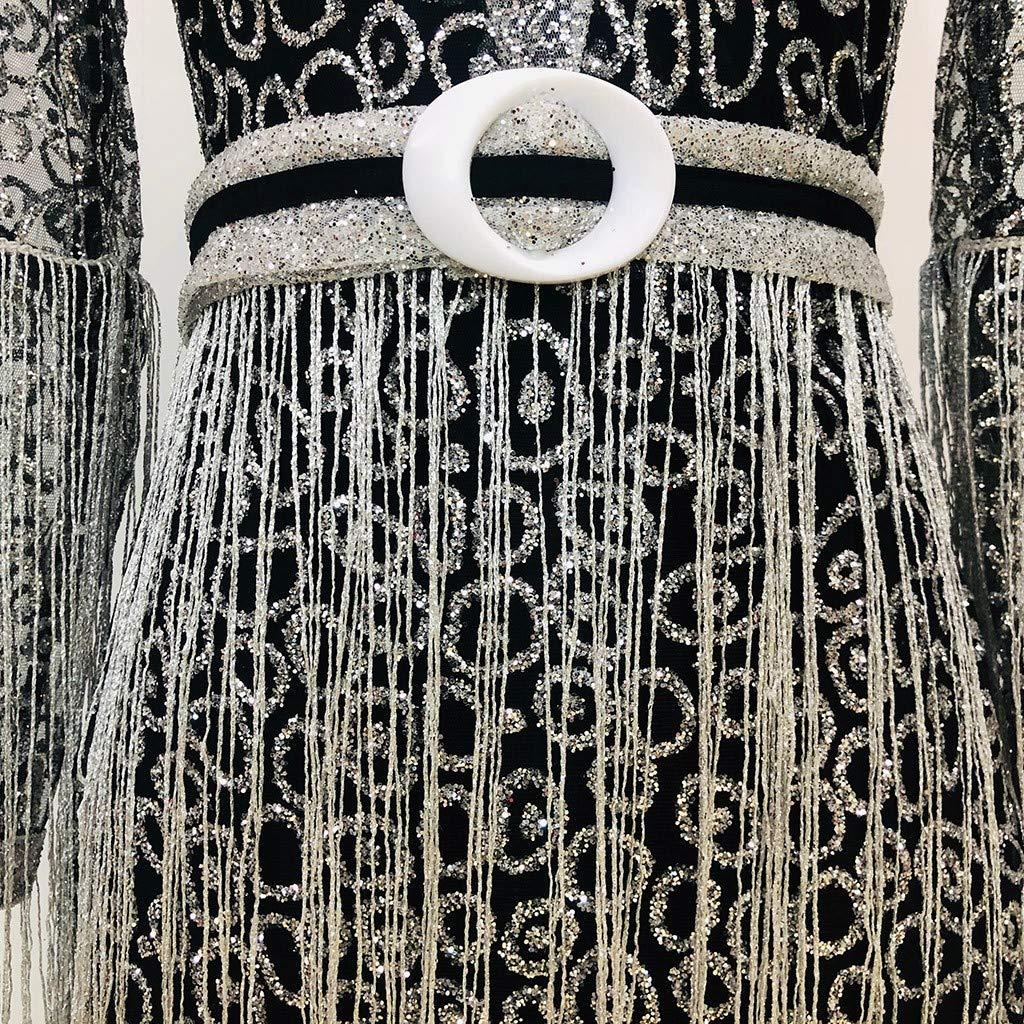 KUHHONG Donna Elegante Donna Vestito con Paillettes Abito Scollo V Donna Vestito da Estate Manica Lunga Vestito Donna Abito Donna Mini Abito da Donna con Cuciture Sequined Manica Lunga Elegante Nero