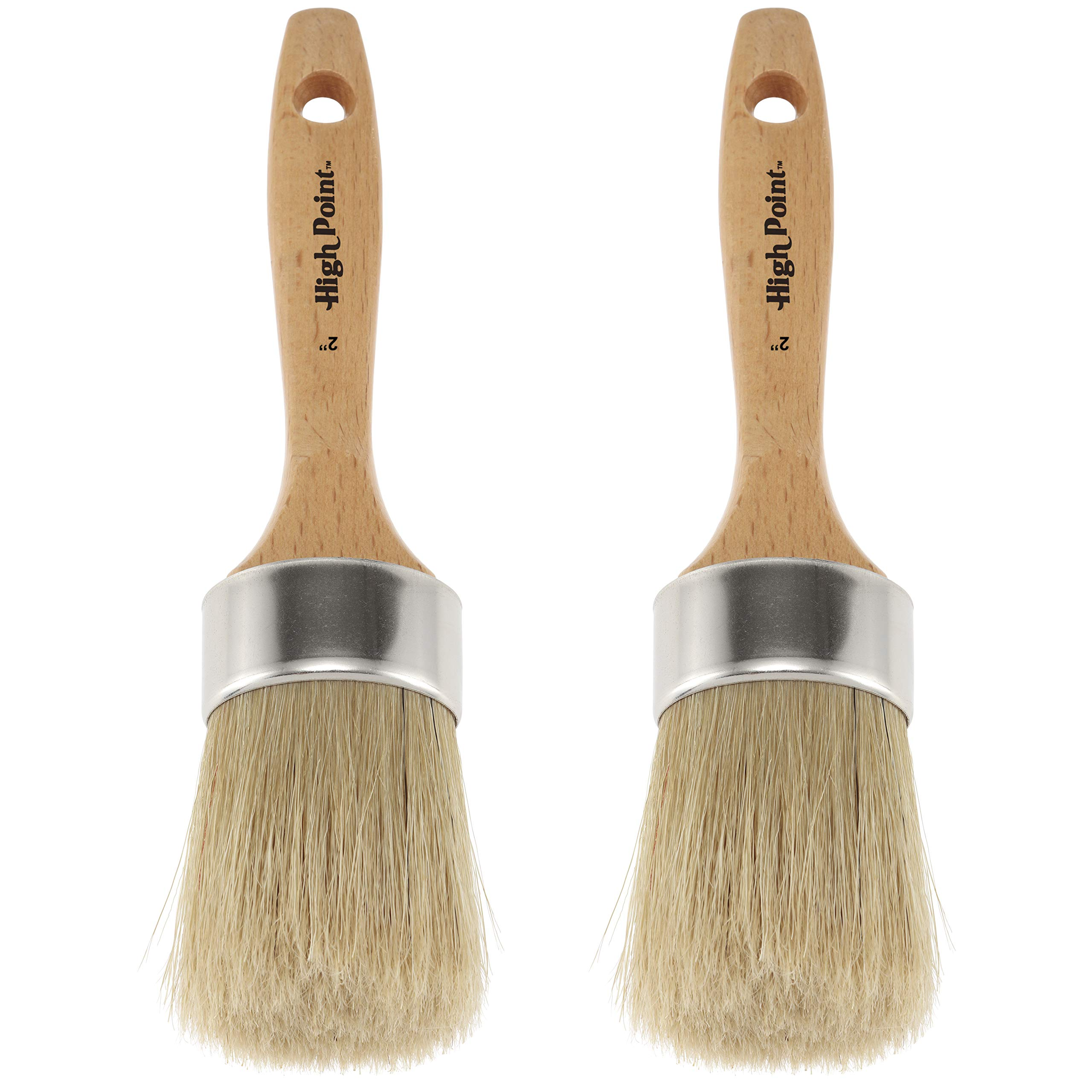 Large 2-in-1 Round Chalk & Wax Finishing Brush | Professional Quality for All Fine Art, Hobby & Chalk Paints, Faux Finishing, Stenciling & Wax Finishing [2'' x 2.36'' Brush Hair] - Double Pack by Creative Mark