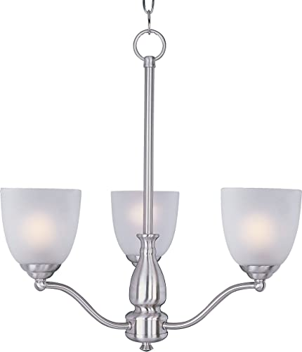 Maxim Lighting 10064FTSN Stefan – Three Light Chandelier, Satin Nickel Finish with Frosted Glass