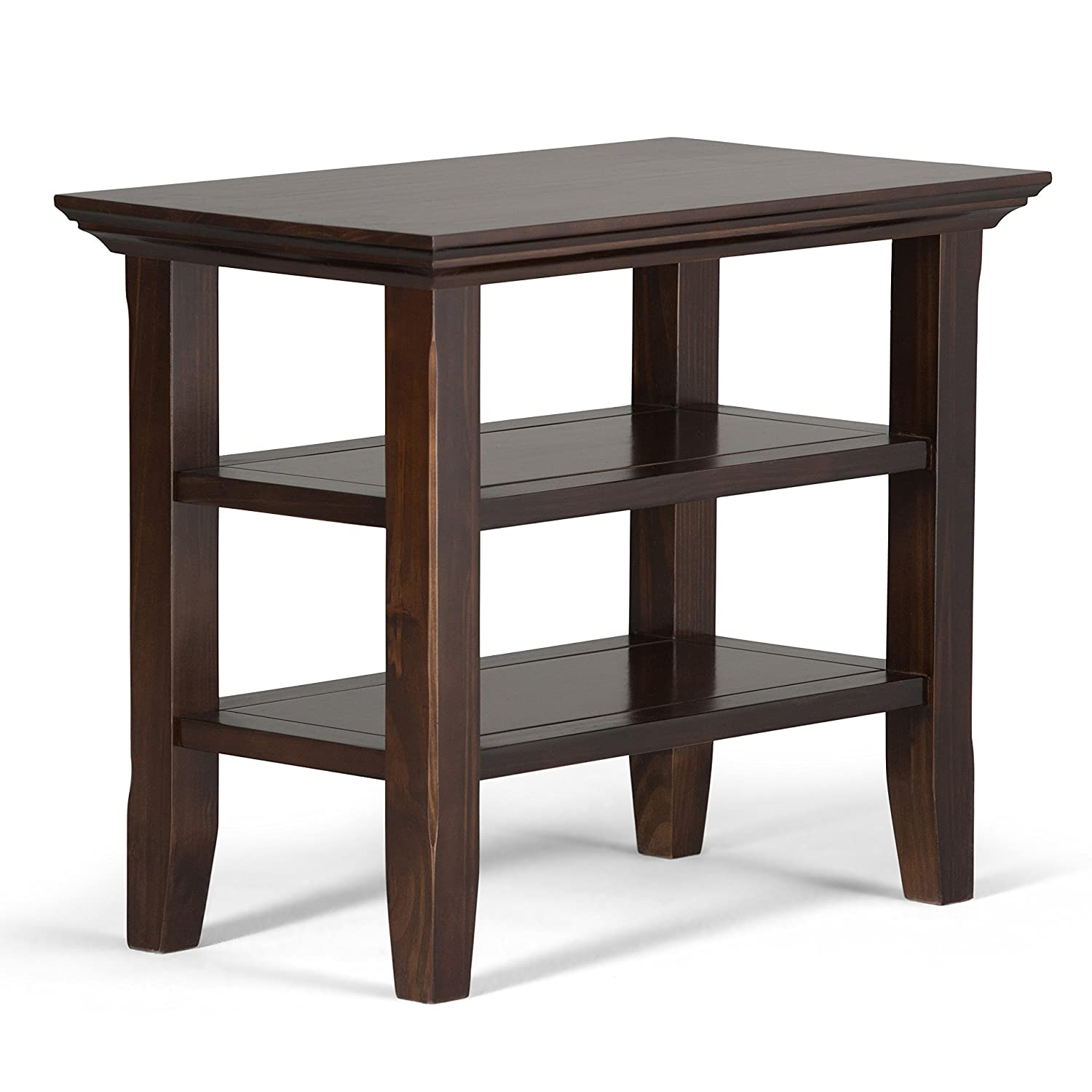 Amazon com simpli home axwell3 008 acadian solid wood 14 inch wide rustic narrow side table in tobacco brown kitchen dining