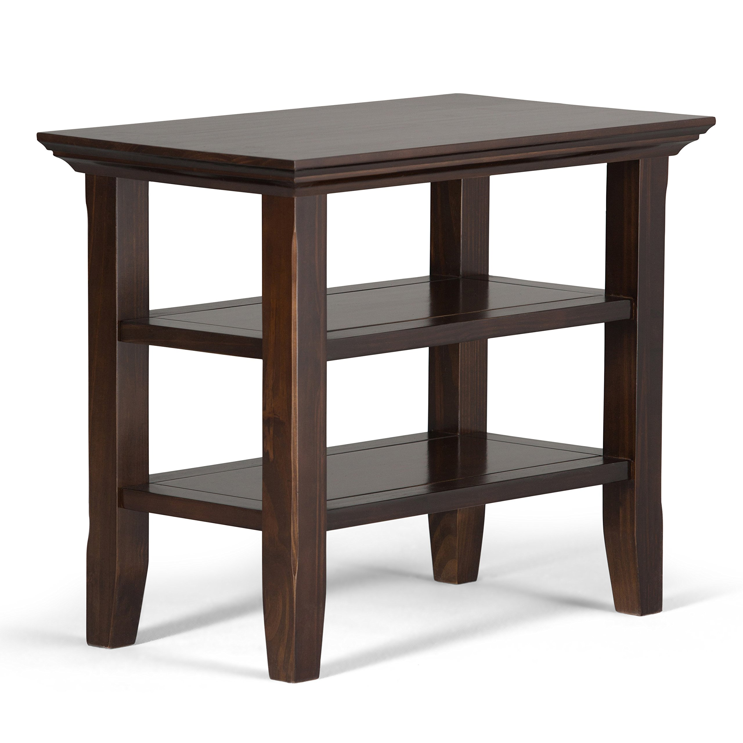 Simpli Home Acadian Solid Wood Narrow Side Table, Tobacco Brown