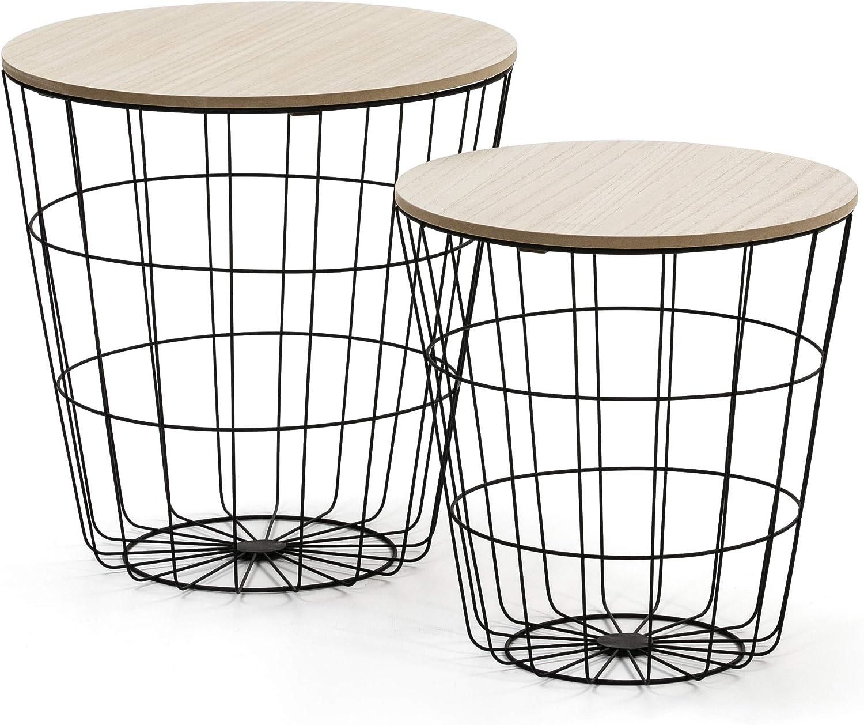 VS Venta-stock Juego 2 mesas de Centro café Everest con Tapa de Madera Natural y Estructura de Metal en Negro
