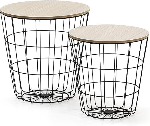 VS Venta-stock Juego 2 mesas de Centro caf/é Tokio con Tapa de Madera Natural y Estructura de Metal en Negro
