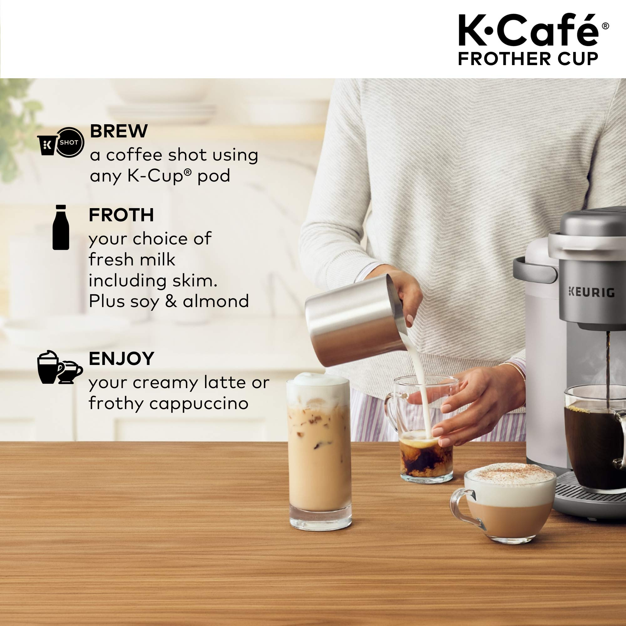 Keurig K-Café Milk Frother, Works with all Dairy and Non-Dairy Milk, Hot and Cold Frothing, Compatible with Keurig K-Café Coffee Makers Only, Nickel by Keurig (Image #7)