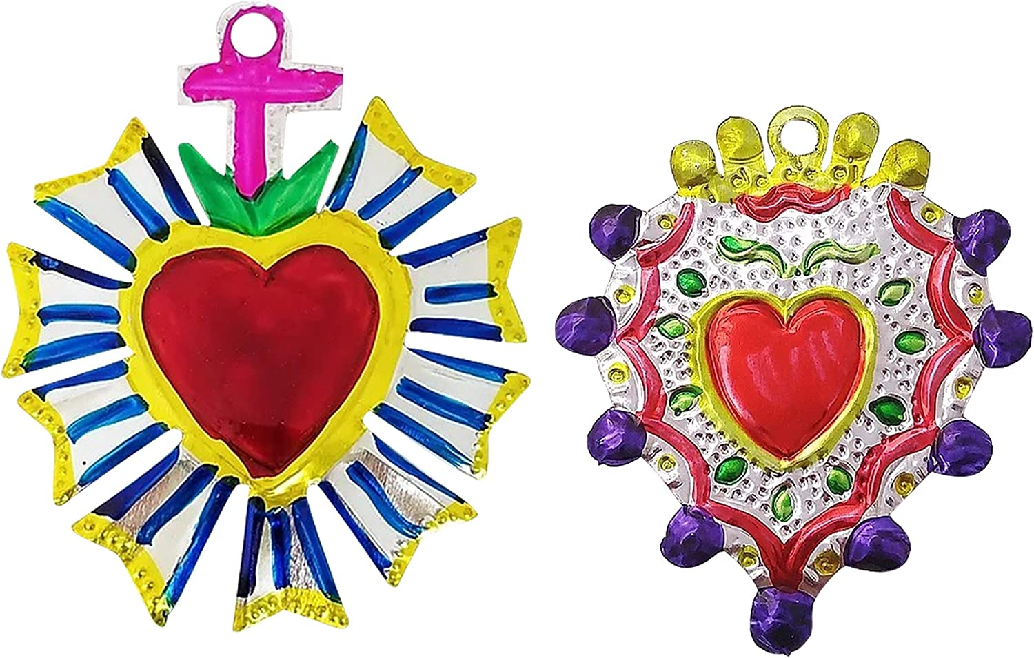 2 Ex Voto Sacred Heart | Hand Crafted Mexican Tin Art in Colorful Heart with Rays and Heart with Purple Border Design | Milagros Heart Metal Charms Set for Wall Decor (Has Hole to Hang)