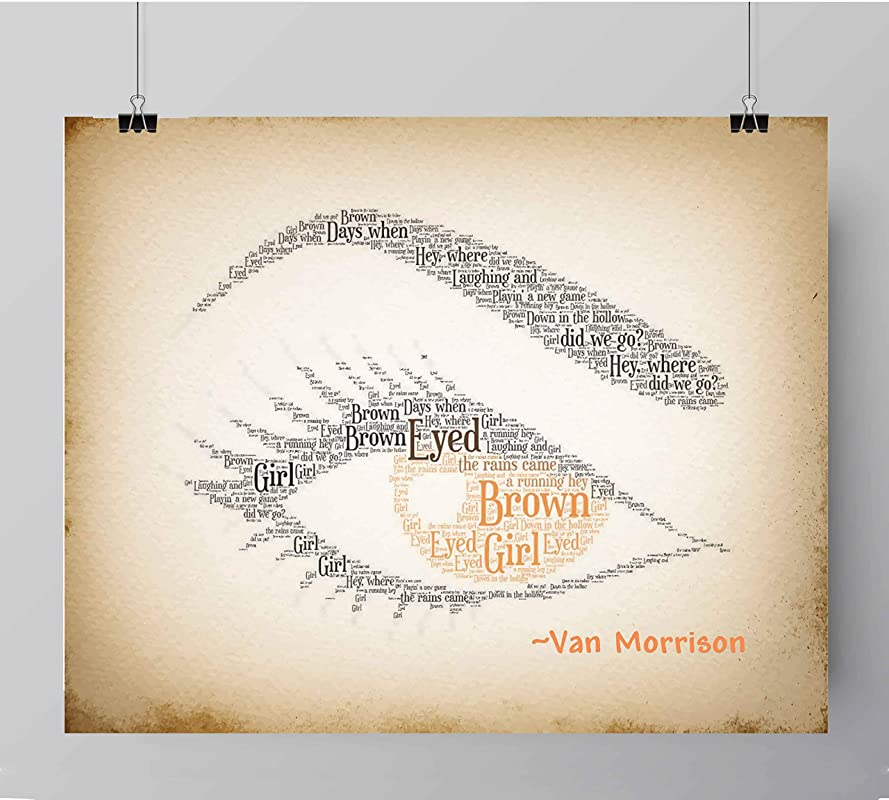 Brown Eyed Girl by Van Morrison inspired song lyric wall art print