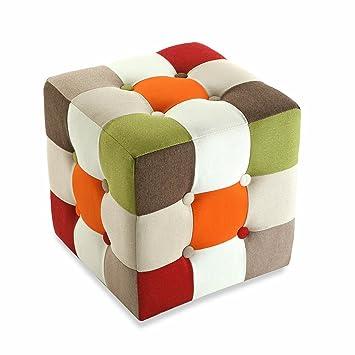 Pouf Cubo.Versa Pouf Cubo Tessuto Patchwork Multicolore 35 X 35 X 35 Cm