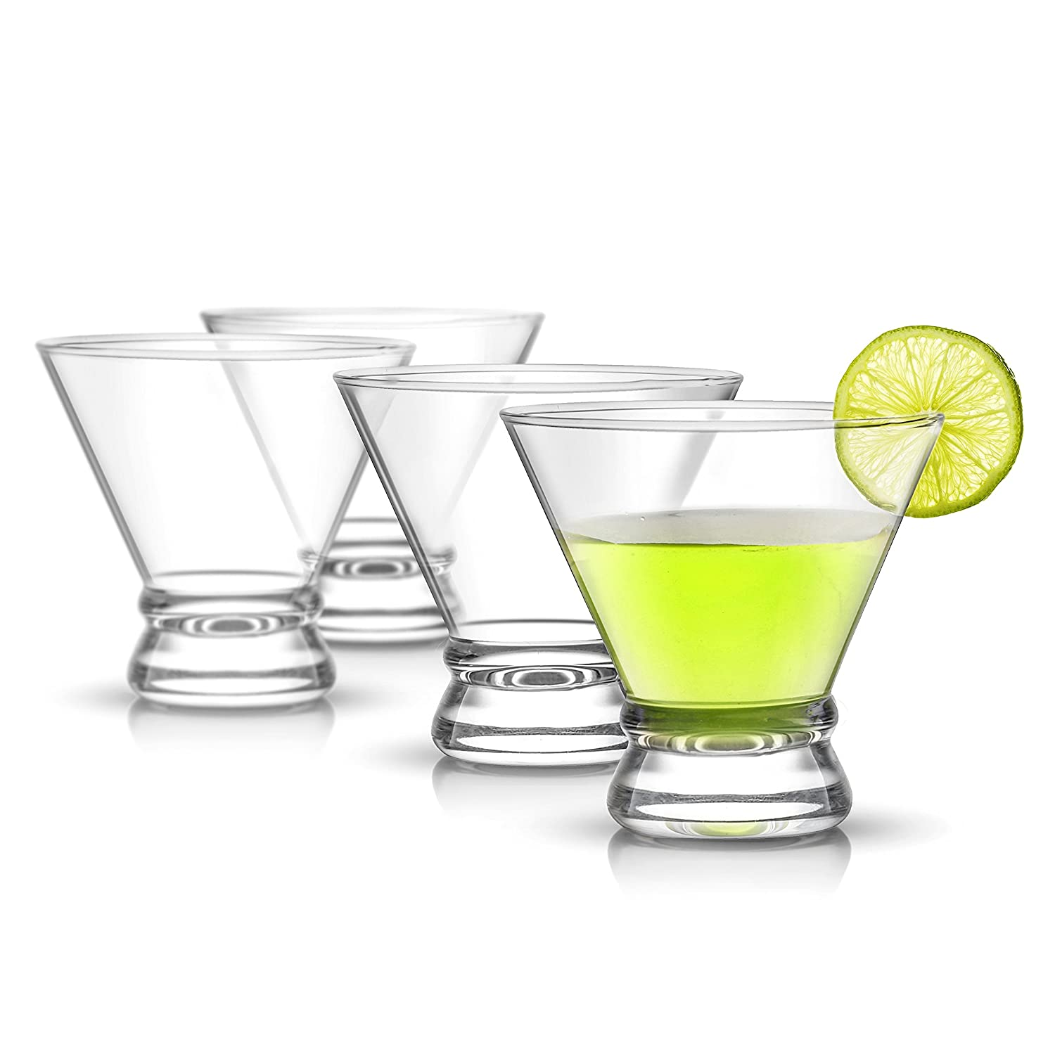 JoyJolt Afina 4-Piece Cocktail Glasses Set, 8-Ounce Martini Glasses JG10222