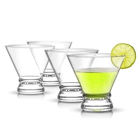 JoyJolt Afina 4-Piece Cocktail Glasses Set, 8-Ounce Martini Glasses