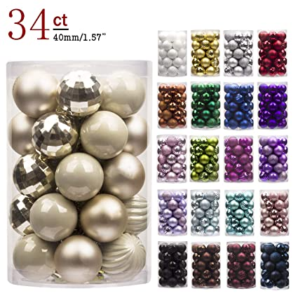 ki store 24ct christmas ball ornaments shatterproof christmas decorations tree balls pastel small for holiday wedding - Pastel Christmas Decorations