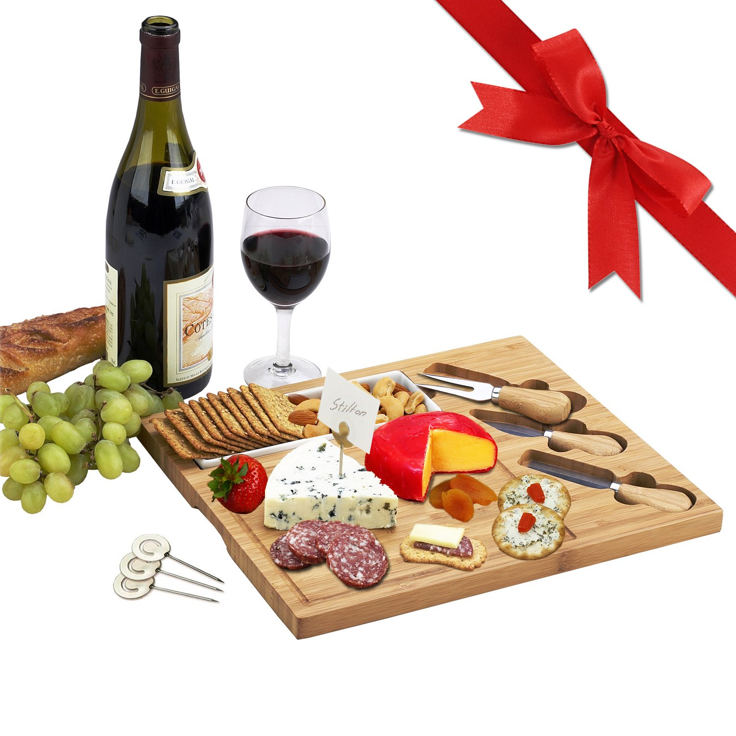 Picnic at Ascot Bamboo Cheese Board/Charcuterie Plate with 3 Stainless Steel Cheese Tools, Ceramic Dish, and Markers - 13'' x 11'' - Designed & Quality Checked in the USA