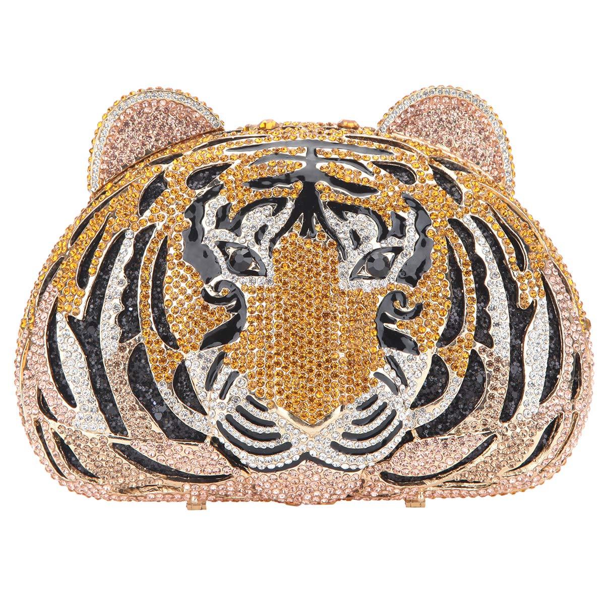 Fawziya Tiger Purse For Women Luxury Rhinestone Clutch Evening Bag - Rose Gold