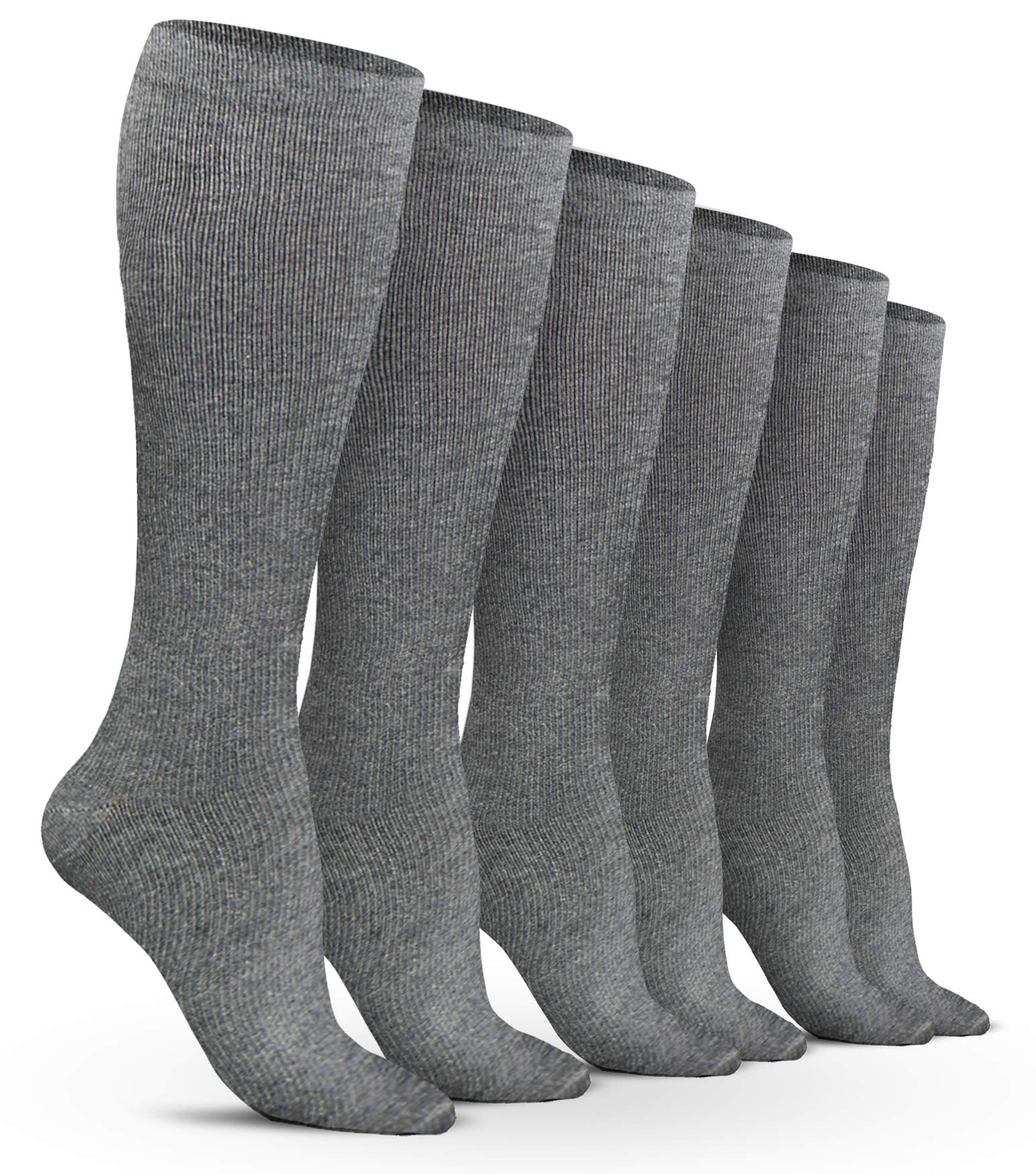 Women's Compression Socks (6 Pack) - L/XL - Gray - Graduated Muscle Support, Relief and Recovery. Great for Running, Medical, Athletic, Diabetic, Travel, Pregnancy, Nursing (8-15 mmHg)